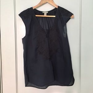J. Crew cotton voile embroidered blouse